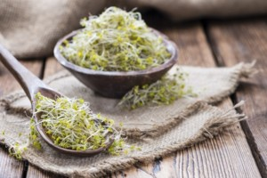 Some fresh Broccoli Sprouts (close-up shot) on rustic wooden background
